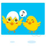 Newborn Chicks. Two newborn chicks learning to fly and sing Royalty Free Stock Photography