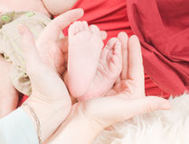 Newborn child and hands Stock Photography