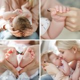 Collage of four photos of the mother and newborn baby. The newborn child lies with the mother on her lap,the mother supports the little head of the baby with her Stock Images