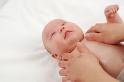 Newborn child massage #11 Royalty Free Stock Photos