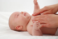 Newborn child massage #9 Royalty Free Stock Photo