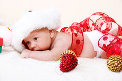 Newborn Christmas baby Stock Photo
