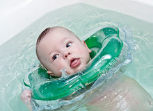 Newborn in the circle for swimming Stock Image