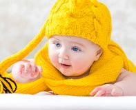 Girl in the yellow cap Royalty Free Stock Photography