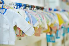 Newborn clothes shop Royalty Free Stock Photography