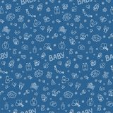 Newborn. Colorful vector seamless pattern in Doodle and cartoon style on the baby theme. Blue. Vector. EPS 8 Stock Image