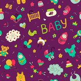 Newborn. Colorful vector seamless pattern in Doodle and cartoon style on the baby theme. Vector. EPS 8 Stock Photos