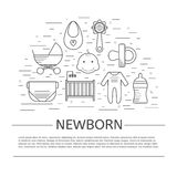 Newborn concept icons in thin line style. Lots of baby and newborn symbols isolated on background with place or your text. Greeting card, flyer made in line Stock Photos