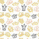 Newborn cute girl vector seamless pattern with doodle crowns. Background with crown doodle illustration Stock Photography