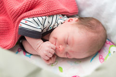Newborn 8 days old baby sleeping in the crib Stock Image