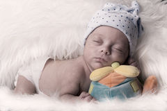 Newborn details selective focus male baby Royalty Free Stock Image