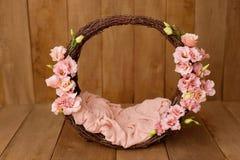 Free Newborn Digital Background Spring Rose Basket Prop For Newborn Stock Photo - 196222370