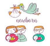 Newborn doodle Icon set Royalty Free Stock Photos