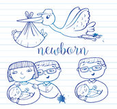 Newborn doodle Icon set Royalty Free Stock Photography