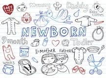 Newborn doodles set Stock Photo