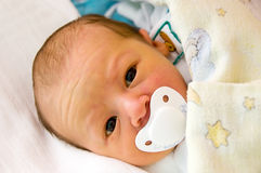Newborn with dummy - pacifier. Three day baby sucking dummy. Face is a little yellow because of neonatal jaundice. Child is looking straight royalty free stock photo