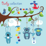 Newborn elements for Baby boy hanging on the tree. Newborn elements for Baby boy hanging on the rope in the tree branches.Cartoon Baby collection. A bib, Teddy Royalty Free Stock Image