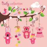 Newborn elements for Baby girl  hanging on tree. Newborn elements for Baby girl hanging on the rope in the tree branches.Cartoon Baby collection. A bib, dress Royalty Free Stock Images