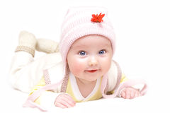 Newborn european baby girl boy with red flower 3 months old Stock Photos