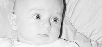 Newborn face eyes mouth and nose Stock Image