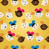 Newborn faces pattern Stock Images