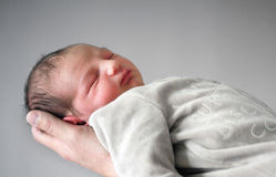 Newborn in Father's Hand Stock Photography