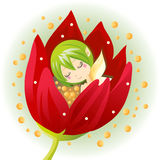 Newborn Flower Fairy. Cute little flower fairy born from a blooming tulip Royalty Free Stock Photos