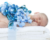 Newborn, Gift Wrapped in Blue Royalty Free Stock Photo