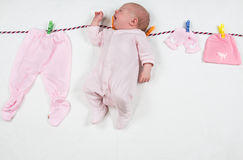 Free Newborn Girl After Washing Laundry On A Clothespin Underwear, Royalty Free Stock Photo - 37924845
