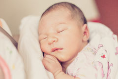 Newborn girl with eyes closed. Royalty Free Stock Images