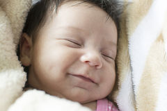 Newborn Baby Girl Smilling Royalty Free Stock Photos