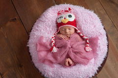 Newborn Girl with Owl Hat Stock Photo