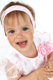 Newborn girl in pink dress stock images