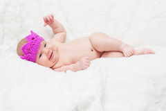 Newborn girl in a princess crown Royalty Free Stock Image