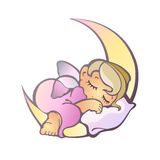 Newborn girl sleeping Stock Photo