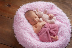 Newborn Girl Sleeping with a Bunny Stuffed Animal. A six day old newborn baby girl sleeping in a round, wooden bowl on pink faux fur. She is swaddled with a Stock Photography