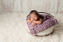Newborn Girl Sleeping in Wooden Bucket. A four week old newborn baby girl sleeping in a little, wooden bucket. She is wearing a lavender colored bonnet. Shot in Stock Images