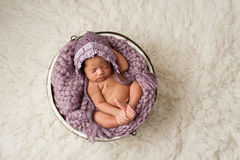 Newborn Girl Sleeping in a Wooden Bucket. A four week old newborn baby girl sleeping in a little, wooden bucket. She is wearing a lavender colored bonnet. Shot Royalty Free Stock Photos