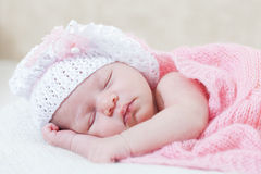 Newborn girl sleeps Royalty Free Stock Images