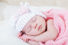Newborn girl sleeps Royalty Free Stock Image