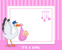 Newborn Girl Stork Horizontal Frame Stock Photography