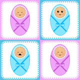 Newborn girls and boys Stock Photo