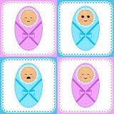 Newborn girls and boys Stock Photo