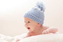 Newborn in a hat royalty free stock photography