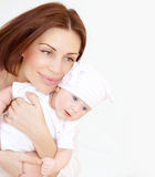 Newborn healthy infant with mom Stock Photos