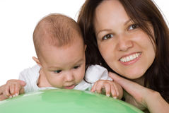 Newborn with her mother Stock Photography