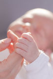 Newborn hold mothers Hand Royalty Free Stock Images