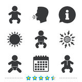 Newborn icons. Baby infants symbols. Newborn icons. Baby infant or toddler symbols. Child silhouette. Information, go to web and calendar icons. Sun and loud Royalty Free Stock Photo