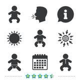 Newborn icons. Baby infants symbols. Royalty Free Stock Photo