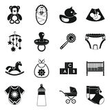 Newborn icons set, simple style Stock Images